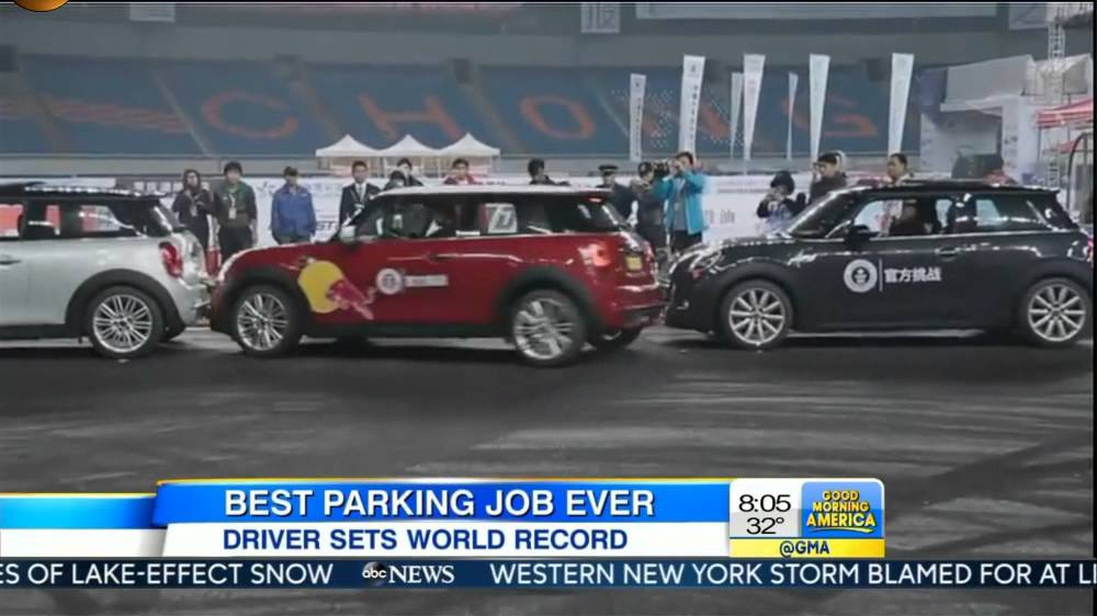 Tightest parallel parking world record